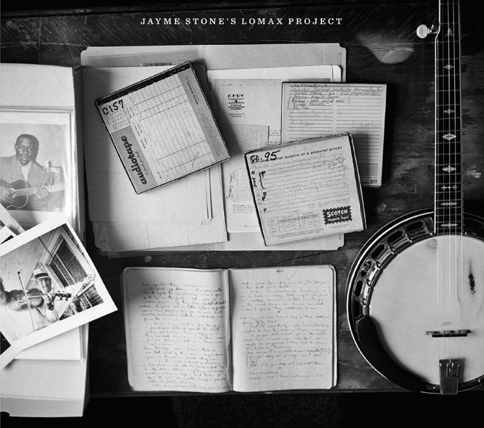 cover of Jayme Stone's Lomax Project CD. A banjo, open reel tapes, photographs, and a folder of notes are viewed from above.