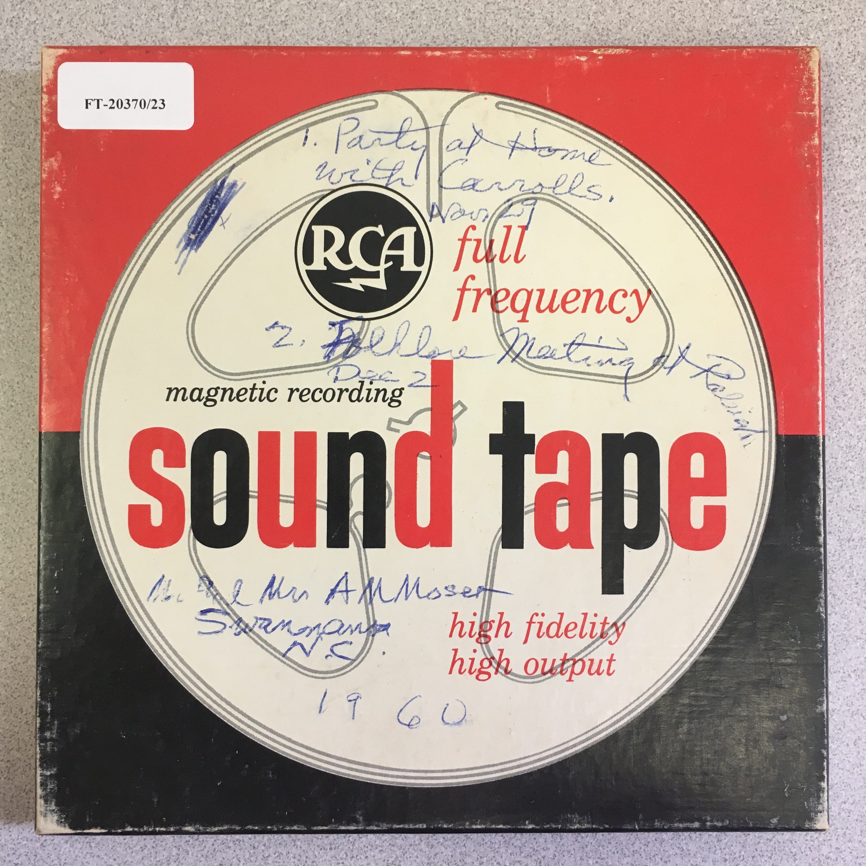 open reel tape box from Joan Moser Collection