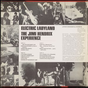 jimi hendrix experience, electric ladyland left gatefold, b&w collage w/ text