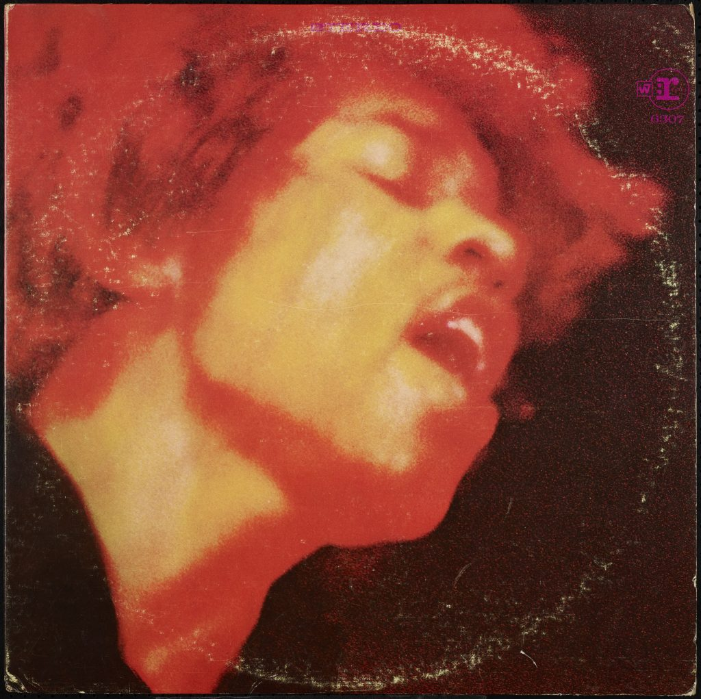 jimi hendrix experience, electric ladyland cover, closeup of face in orange