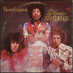 jimi hendrix experience, electric ladyland backcover, the three men of the experience seated