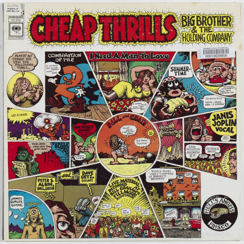 LP Cover, cartoon panels for each song by Robert Crumb