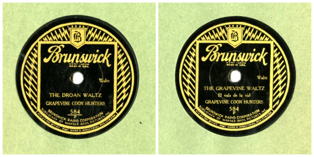 "Labels for 78 rpm disc, Grapevine Coon Hunters. ""Droan Waltz"" and ""The Grapevine Waltz"", Brunswick Recording Co. Gr"