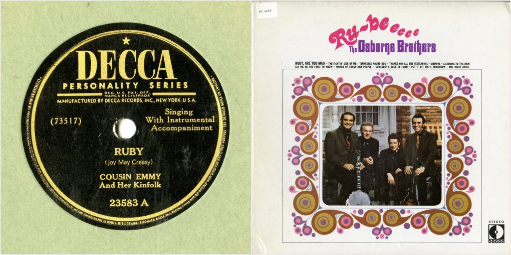 "Record label, Cousin Emmy's song ""Ruby,"" Decca Records; LP Cover, Osborne Brothers sitting with instruments, stylized writing of Ruby"