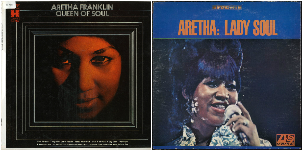two covers of Aretha Franklin LPs, on the left is Queen of Soul with an extreme close up of Franklin's face, on the right is Lady Soul with a close up of Franklin sinking into a microphone