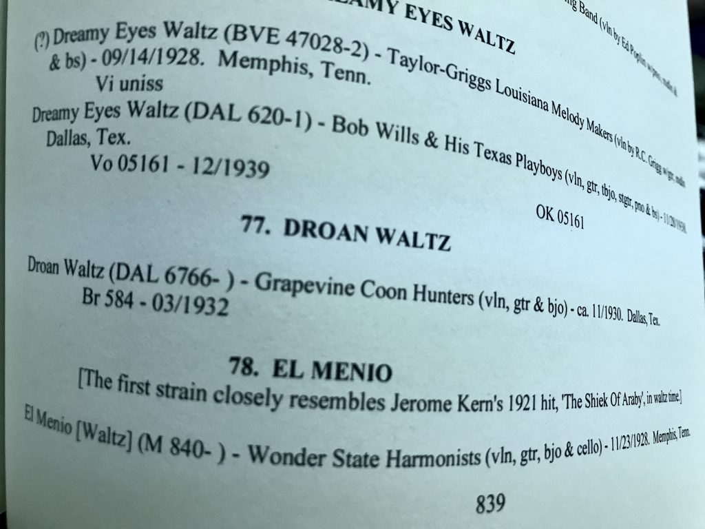"Close up on text from Page 839 from ""Country Music Sources"" a discography of commercially recorded traditional music, entry 77. Droan Waltz"