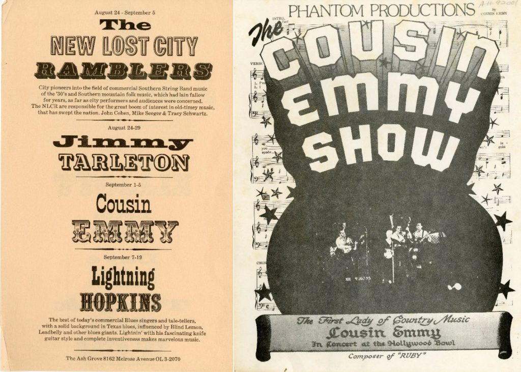 two posters, one featuring Cousin Emmy and other performers, the other is the Cousin Emmy Show