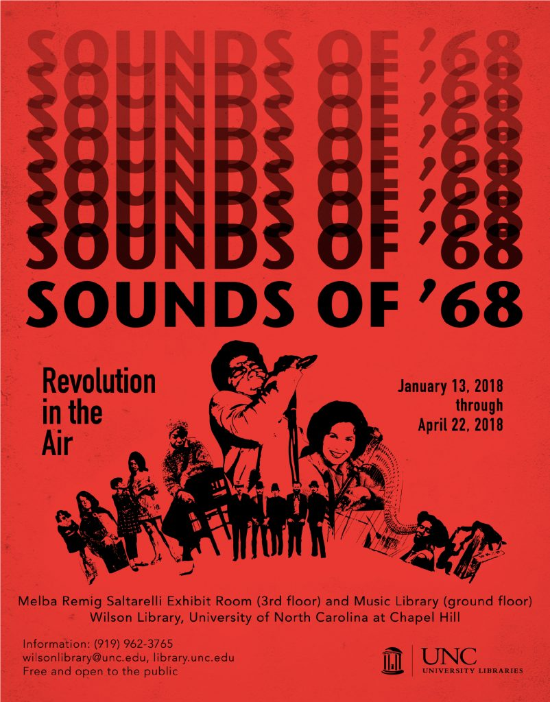 poster for Sounds of '68 exhibit including clip-art cut outs of musicians in the exhibit.