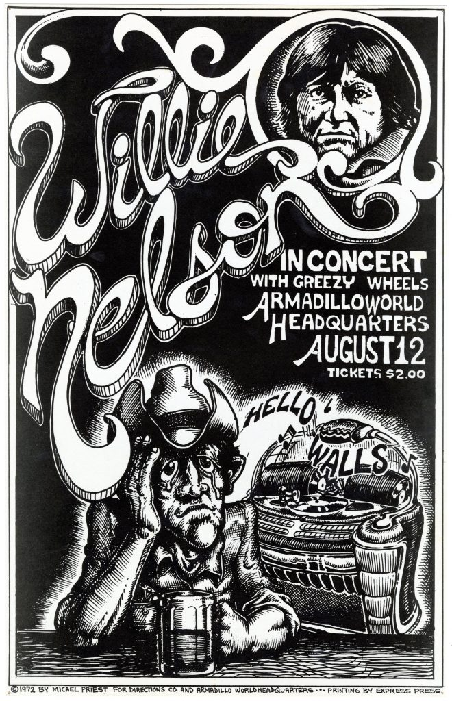 "Concert poster for Willie Nelson, August 12, 1972, a cowboy cries into his beer while a jukebox in the background plays Nelson's hit song ""Hello Walls"" Willie Nelson AWHQ concert poster by Micael Priest, Archie Green Papers (20002)"