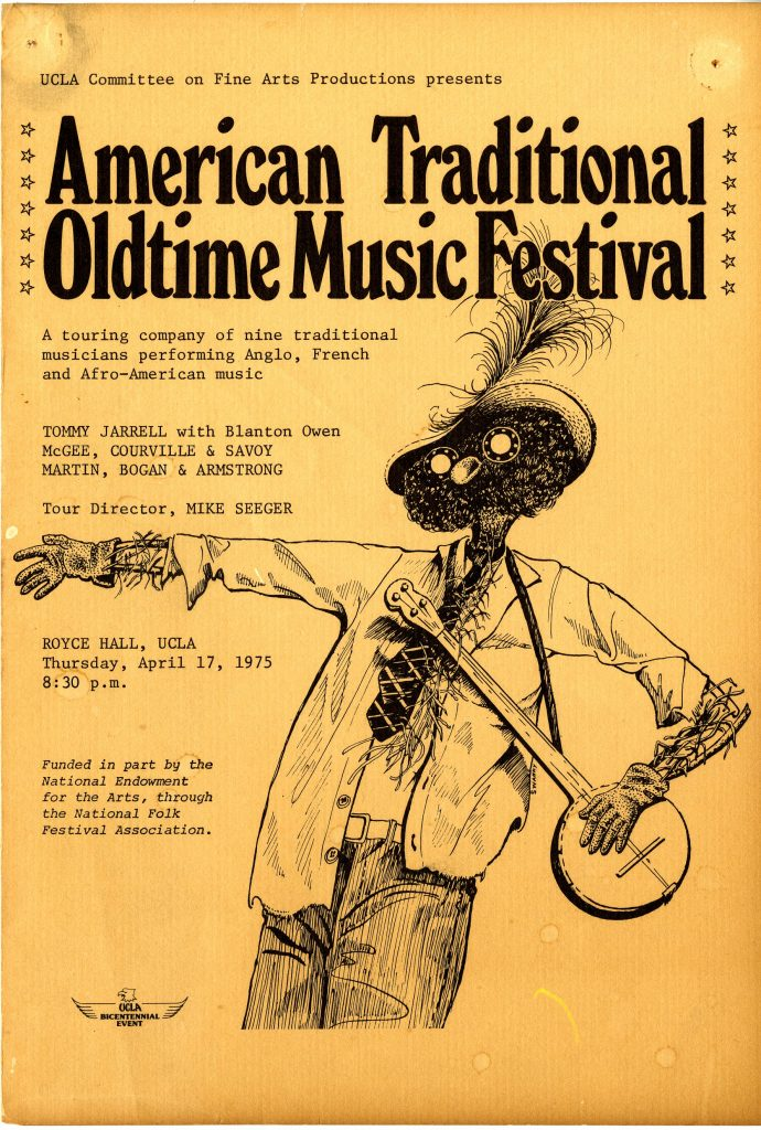 cover of festival brochure, with illustration of a scarecrow holding a banjo