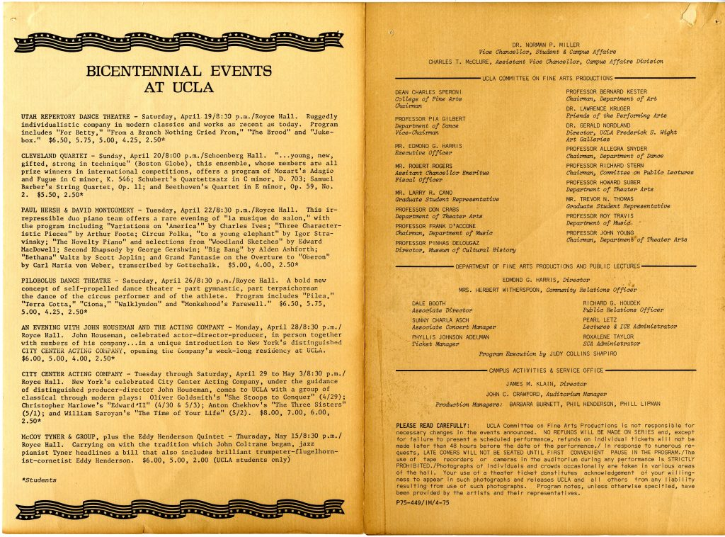 the last two pages of the festival brochure, detailing other bicentennial events at UCLA; acknowledgments