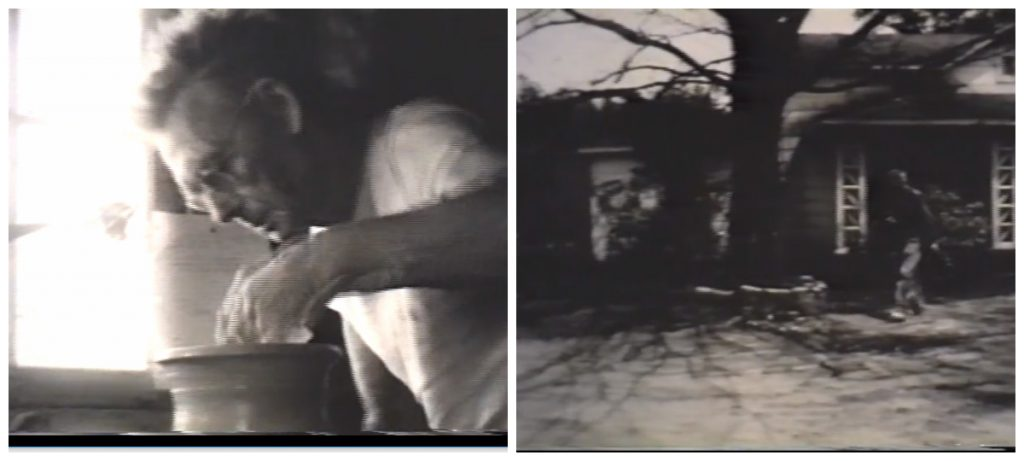 screenshots from film, close up of A. R. Cole at potting wheel, exterior shot of house as Cole walks across yard