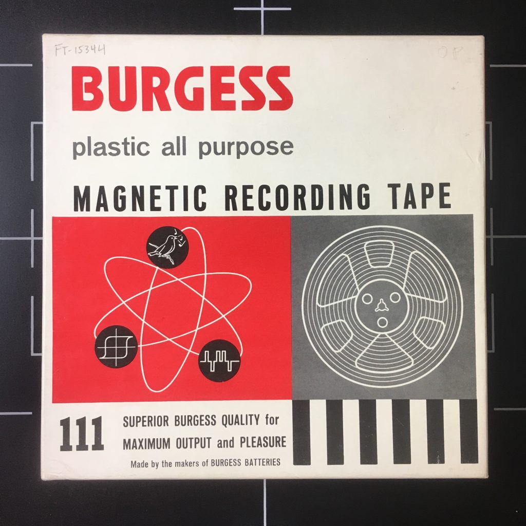 "7"" open reel box for Burgess brand magnetic recording tape, call number FT-20002/15344."