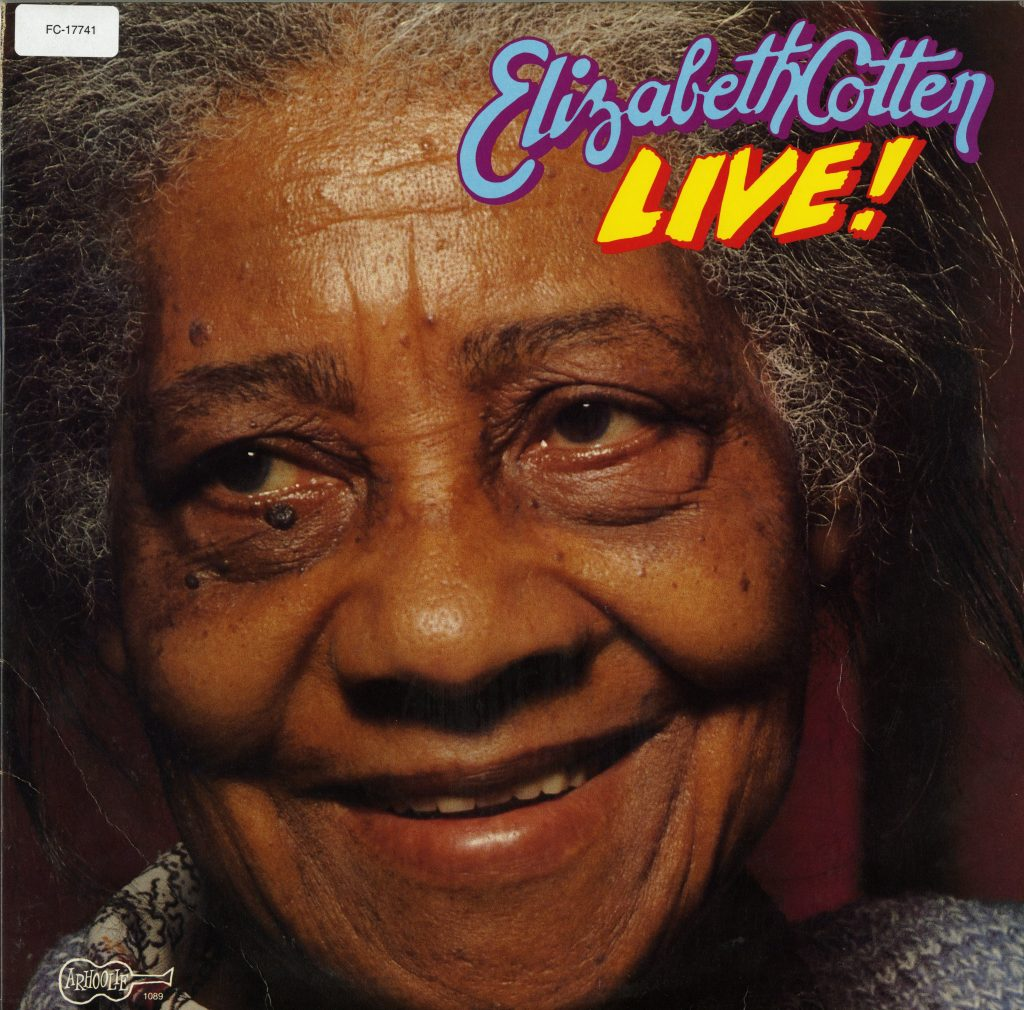 Album cover, Elizabeth Cotten's Live!, features close-up color photo of Cotten's face