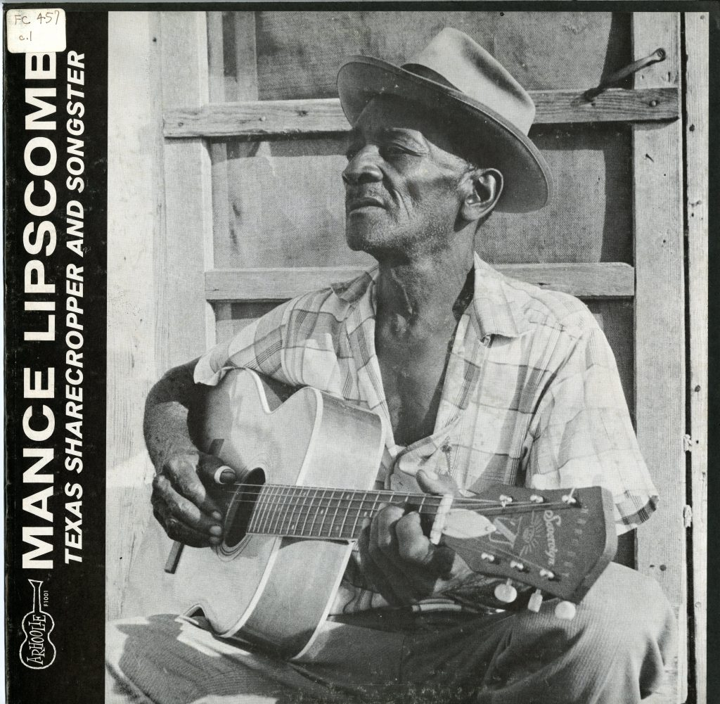 Album cover of Mance Lipscomb's Texas Sharecropper and Songster, features black and white photo of Mance playing guitar