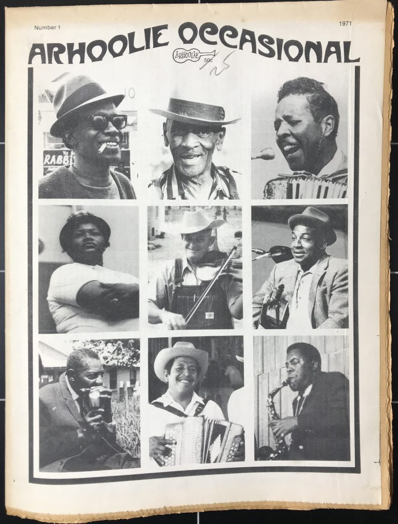Cover of Arhoolie Occasional with photos of Lightning Hopkins, Mance Lipscomp, Clifton Chenier, Narciso Martinez, and others