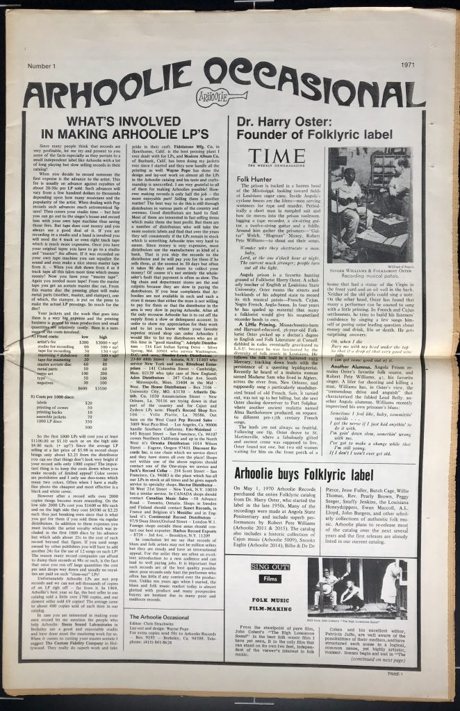 Front page of Arhoolie Occasional with articles about making Arhoolie LPs, Dr. Harry Oster's Folklyric Label