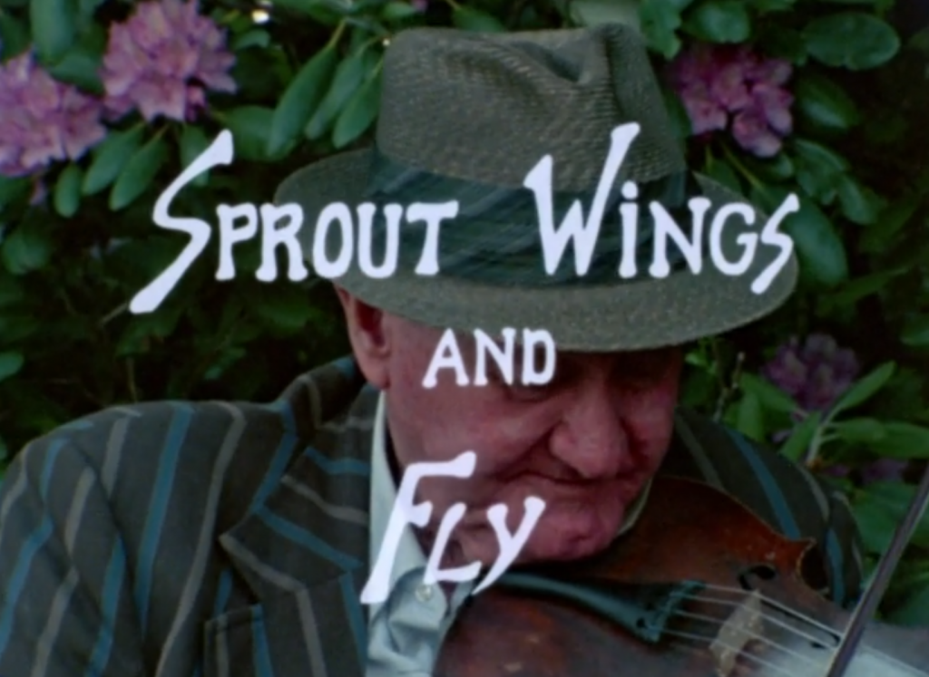 title card of the film, Sprout Wings and Fly, that depicts the film's title over an image of Tommy Jarrell playing fiddle.