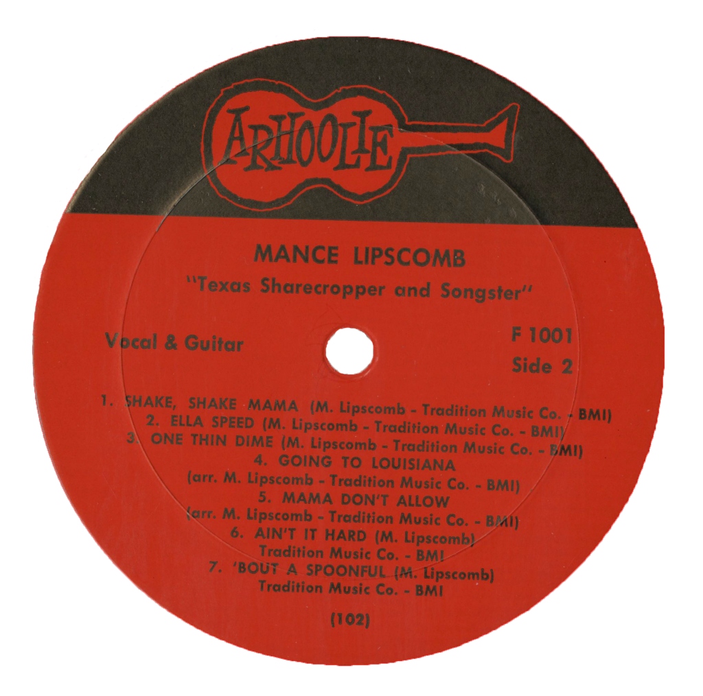 center LP label, Mance Lipscomb, featuring Arhoolie Reccords logo and track listing