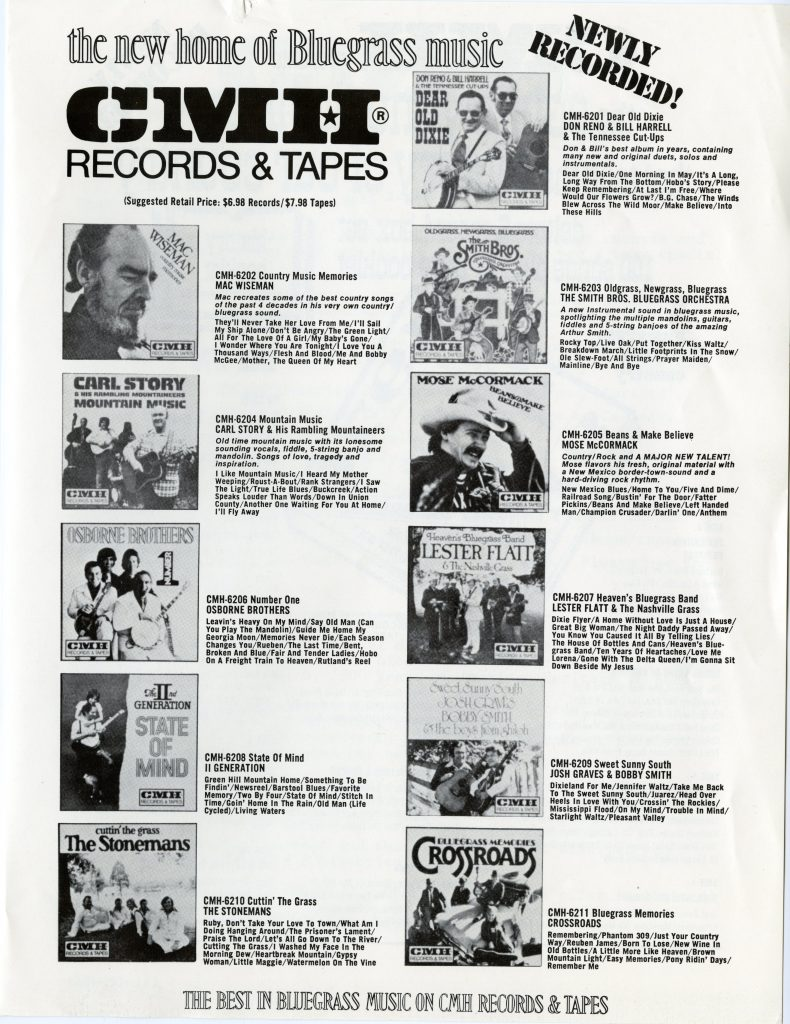 CMH Records advertisement, album covers and descriptions