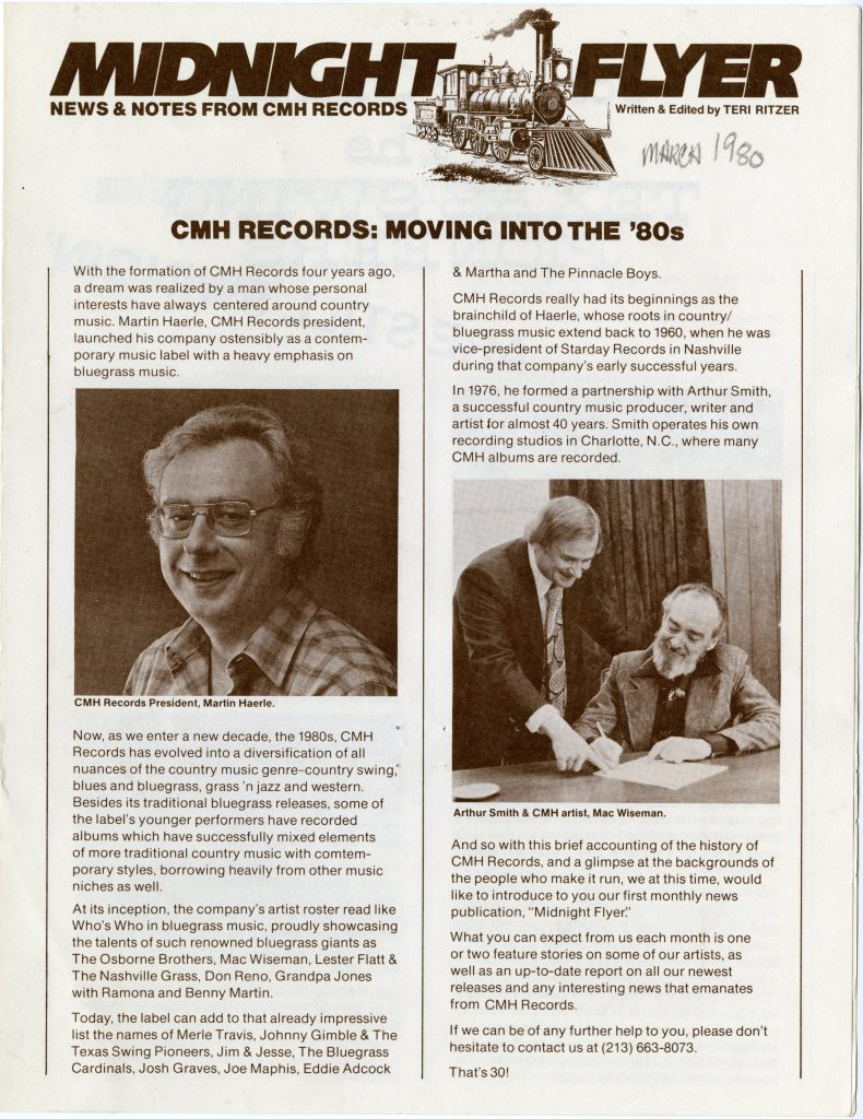 Cover of a CMH Records newsletter called Midnight Flyer, featuring an illustration of a train