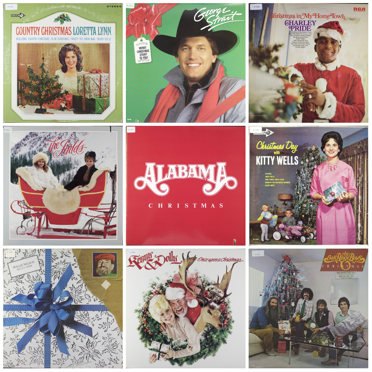 A selection of LP covers for holiday records produced by country music stars, Loretta Lynn, George Strait, Charley Pride, The Judds, Alabama, Kitty Wells, Willie Nelson, Kenny and Dolly, and the Oak Ridge Boys