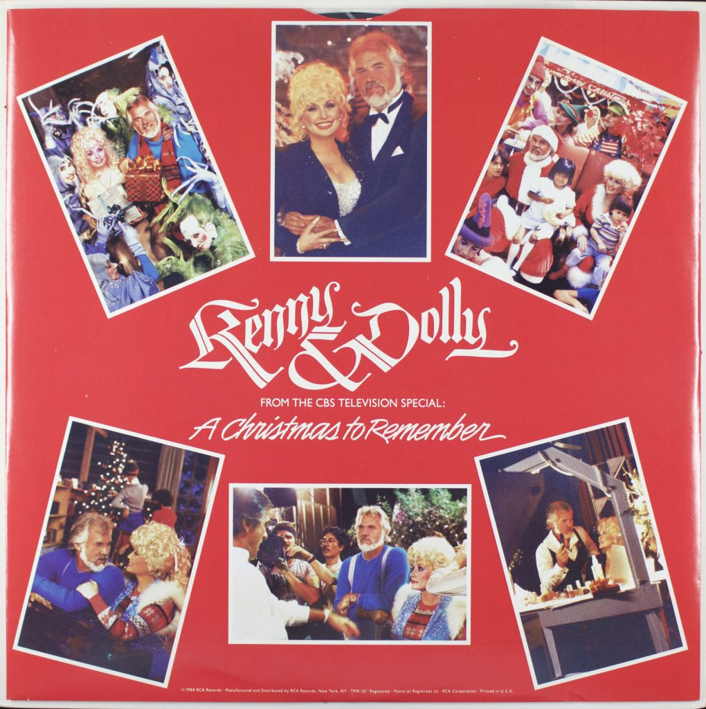 Snapshots of Kenny Rogers and Dolly Parton enjoying the holidays, from the liner notes to 1984 album