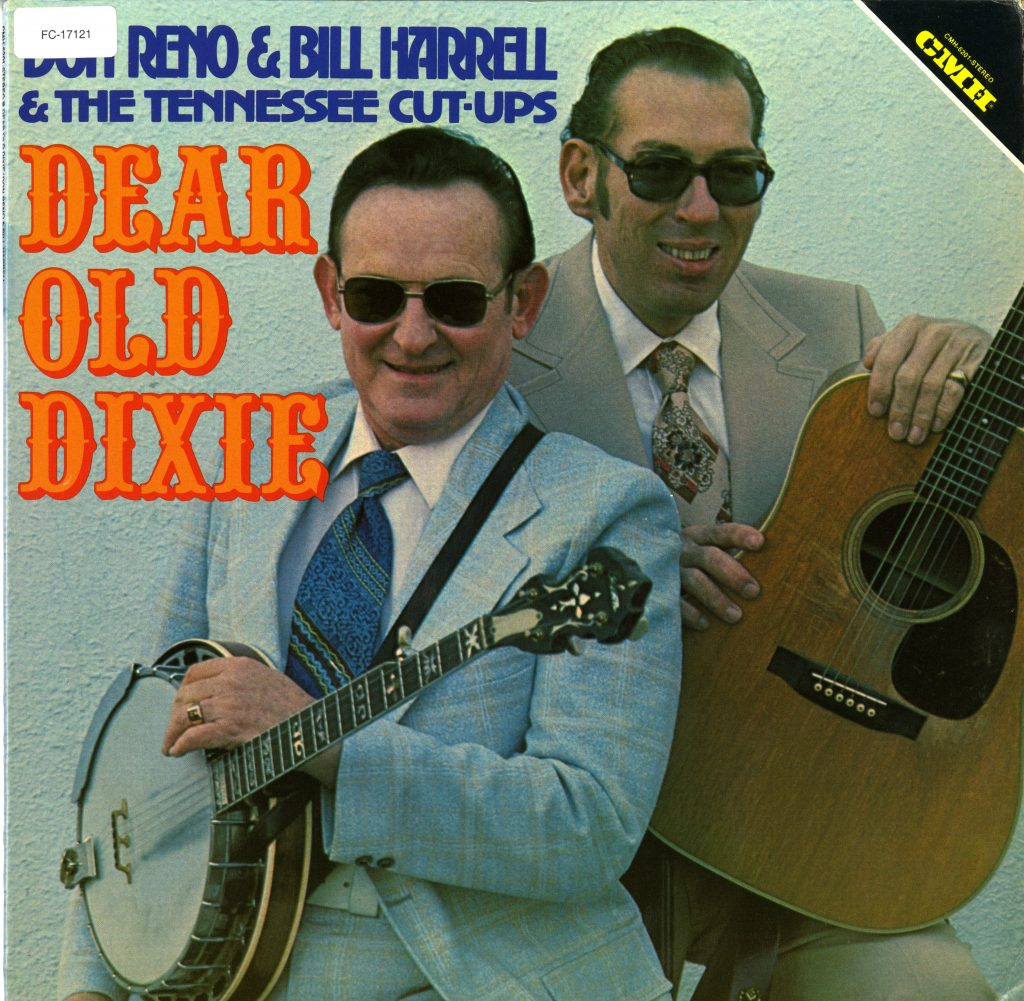 LP album cover, features Don Reno holding banjo, Bill Harrell holding guitar, both wearing suits and sunglasses