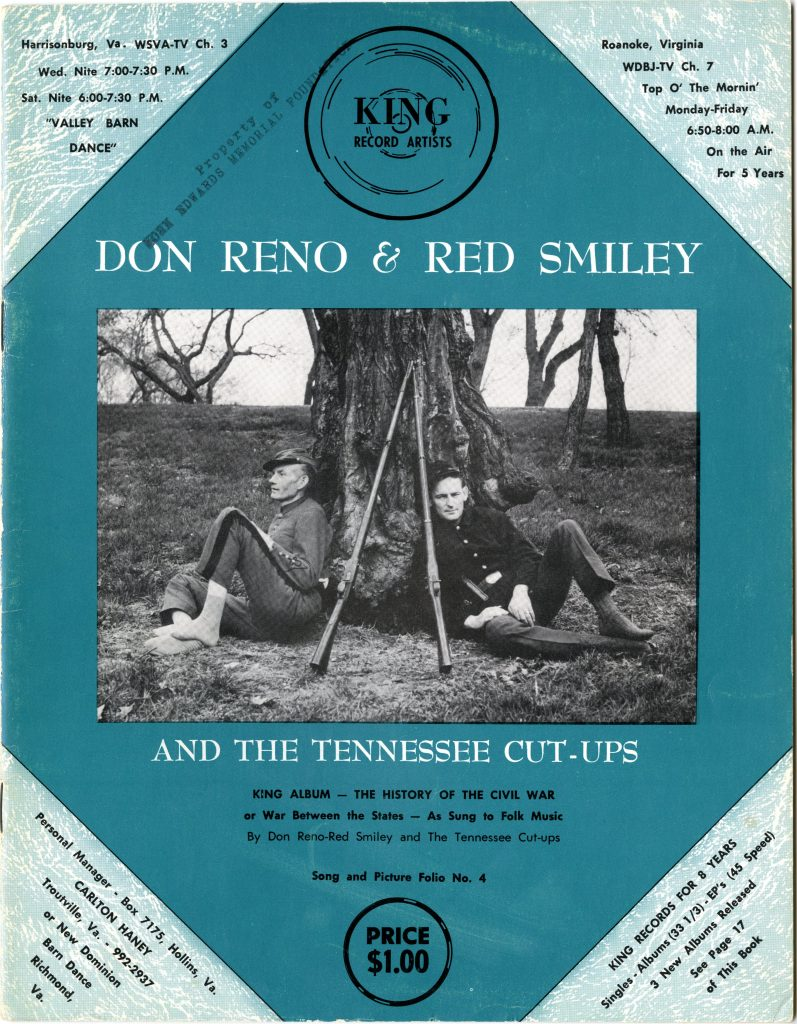 Cover of a song folio, featuring Don Reno and Red Smiley dressed as Union and Confederate soldiers leaning against a tree with their guns