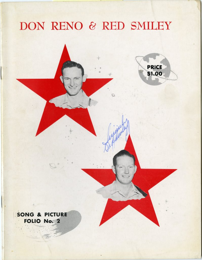 Song folio cover, features two red stars, with the faces of Don Reno and Red Smiley on each star
