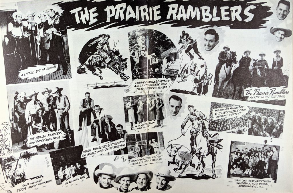 Inside cover of Prairie Ramblers songbook. Image collage of group with text.