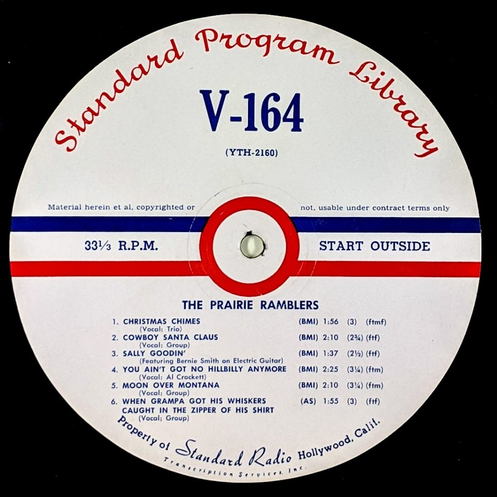 Standard Library Transcription disc label, red, blue and white, song titles.