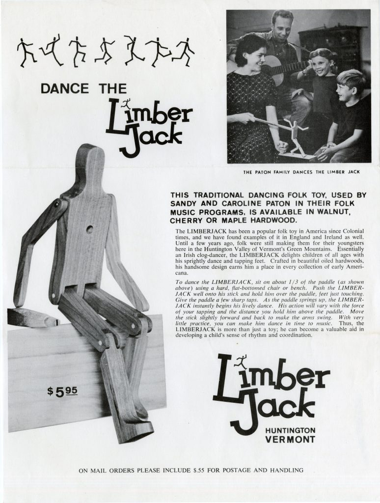 Flyer for limber jack toys, featuring picture of the toy and picture of the Paton family around a toy