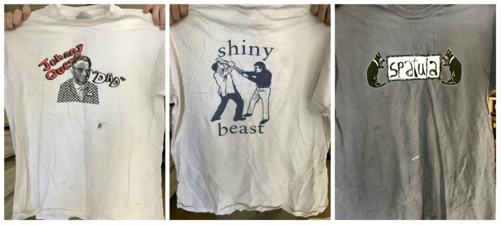 Three t-shirts of Chapel Hill bands formerly owned by Chef Bill Smith: Johnny Quest, Shiny Beast, and Spatula