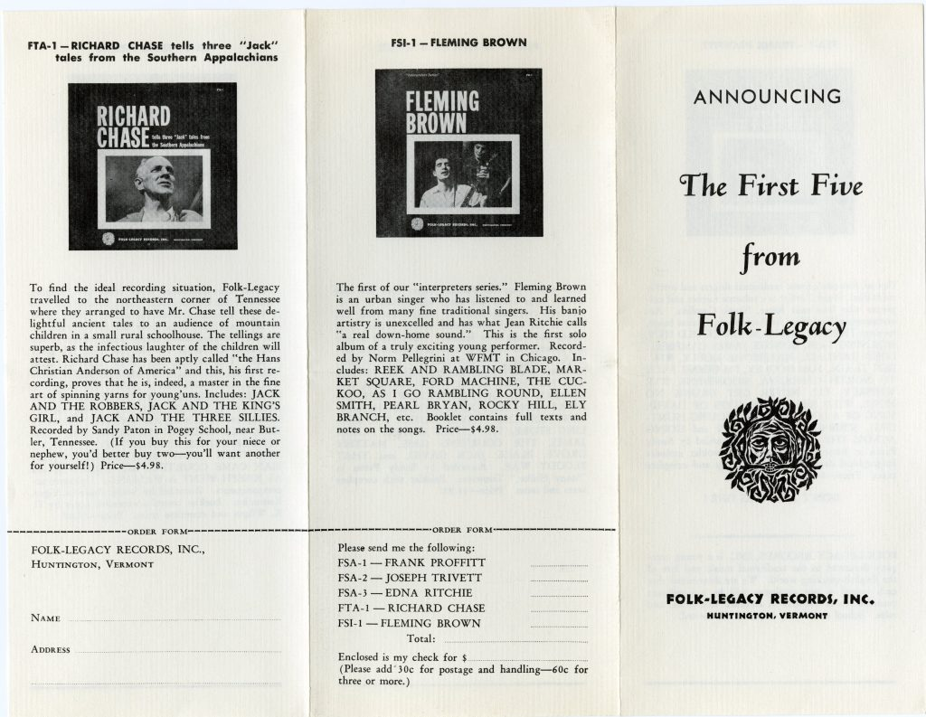 black and white record catalog with photos of LPs and Folk-Legacy logo