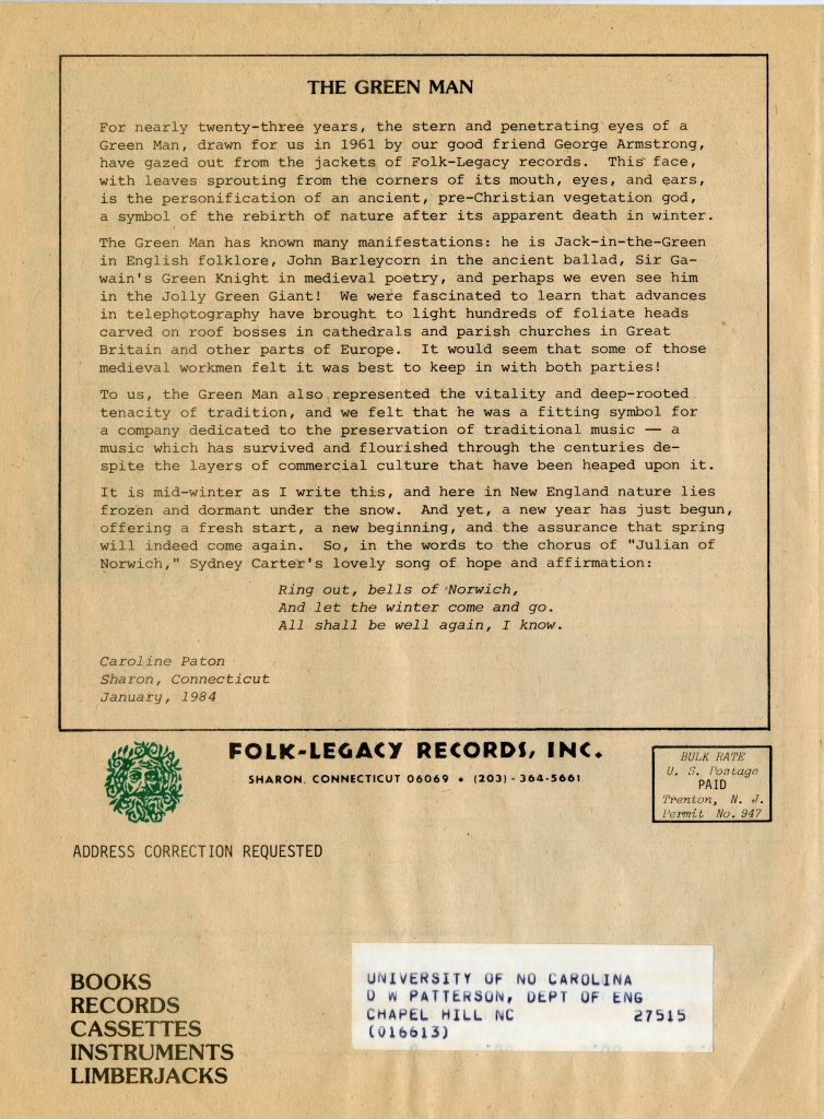text describing the Folk-Legacy logo, back of a recording catalog