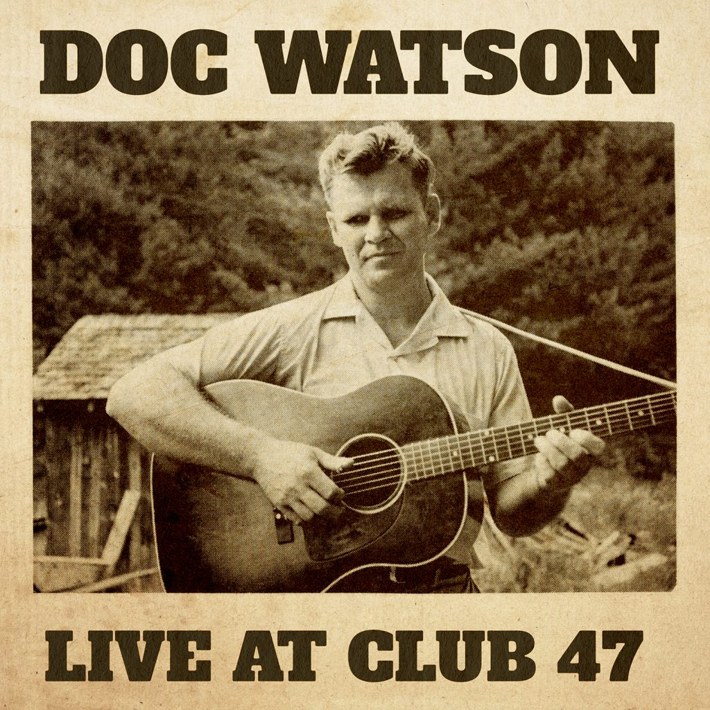 DocWatson_LiveAtClub47_COVER to album. Sepia toned photo of Doc Watson holding acoustic guitar standing outside in front of a barn