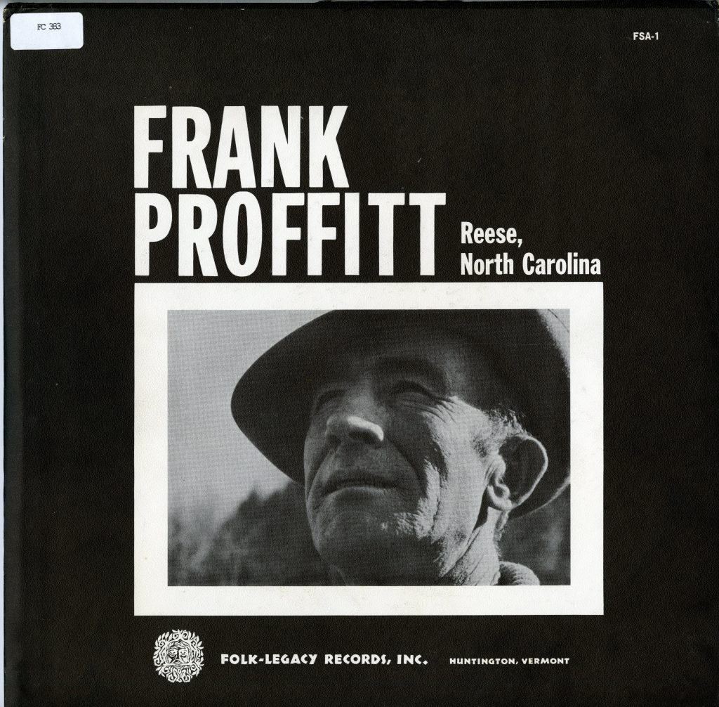 LP cover, black and white, featuring close photograph of Frank Proffitt