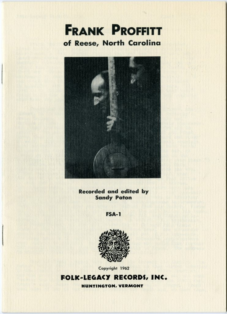cover of booklet from Frank Proffitt record, features black and white photograph of Frank Proffitt holding a wooden banjo