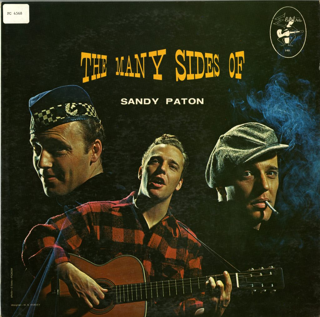LP cover featuring three photographs of Sandy Paton in different outfits against a black background
