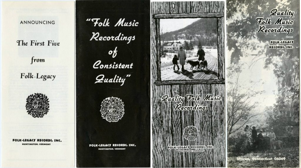 covers of Folk-Legacy recording catalogs, including Folk-Legacy logos and photos of rustic backdrops