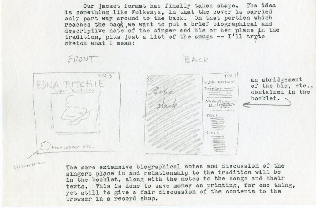 pencil sketch of a record cover layout with type-written text