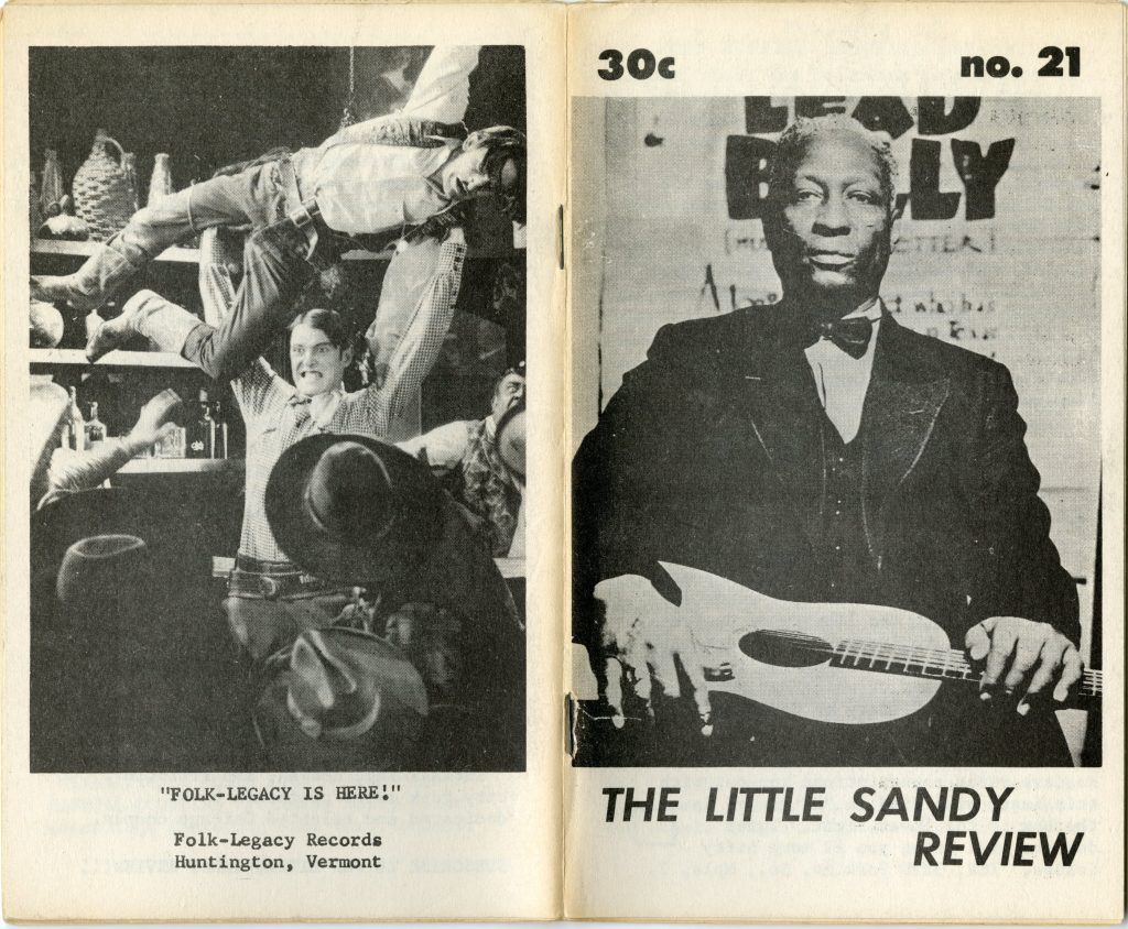 front and back cover of Little Sandy Review magazine, photo of Leadbelly on front, photo of cowboy throwing another man on back