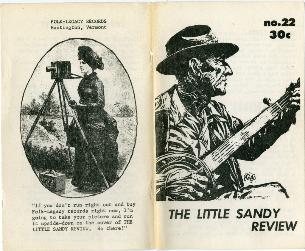 front and back cover of folk music magazine, front features Frank Proffitt illustration, back features ad