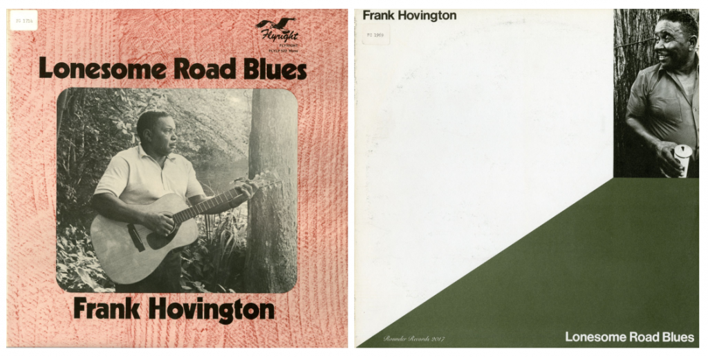 LP covers of Lonesome Road Blues by Frank Hovington