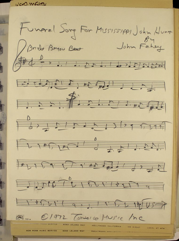 Hand written lead sheets for Funeral Song by John Fahey