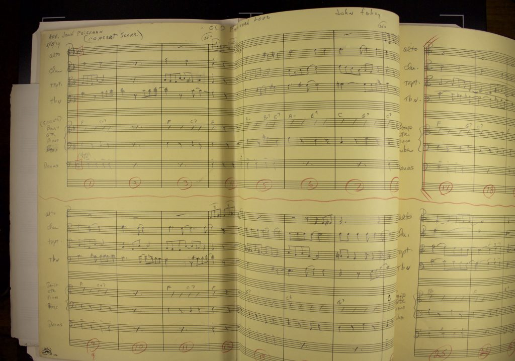 Handwritten orchestration charts for the song Old Fashioned Love by John Fahey