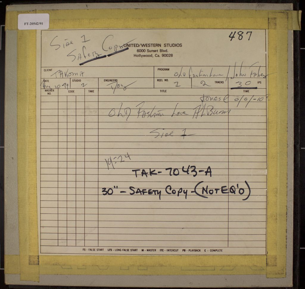 Box containing safety masters for side one of John Fahey's Old Fashioned Love