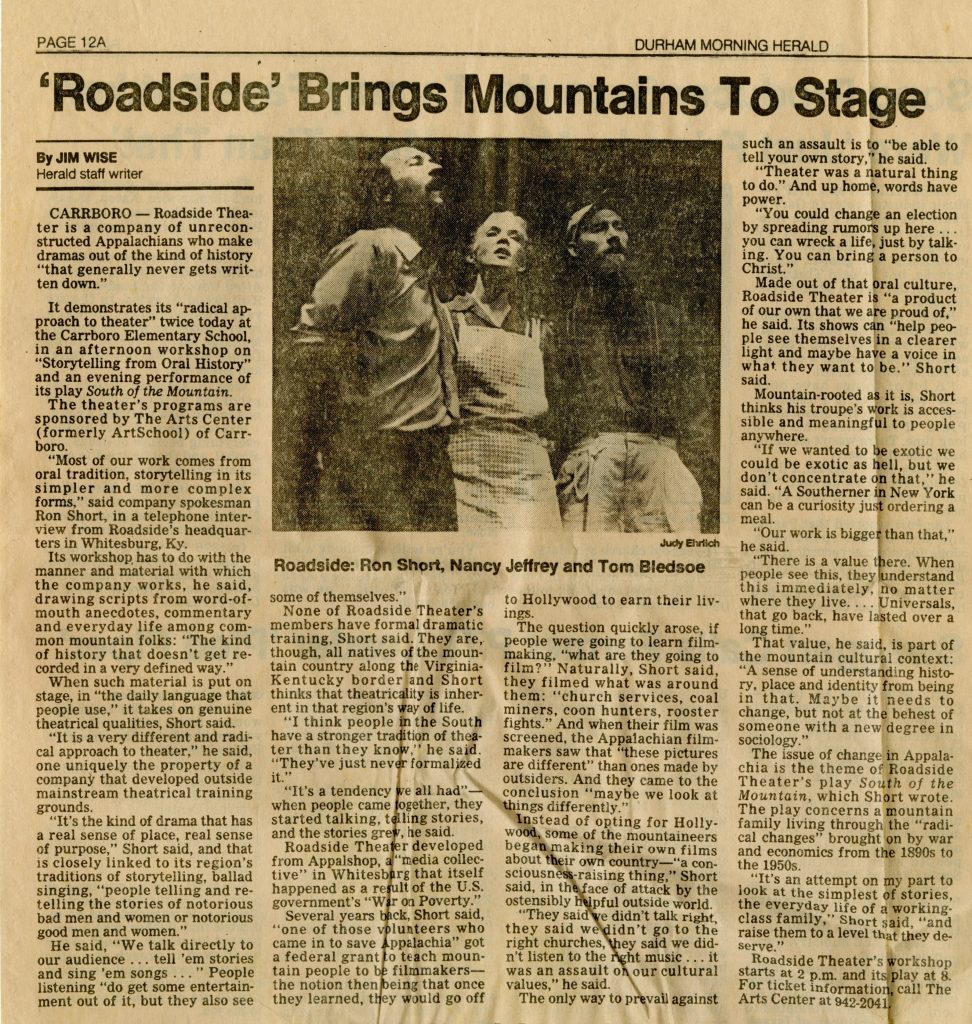 newspaper article describing a Roadside Theater stop in Carrboro in 1987
