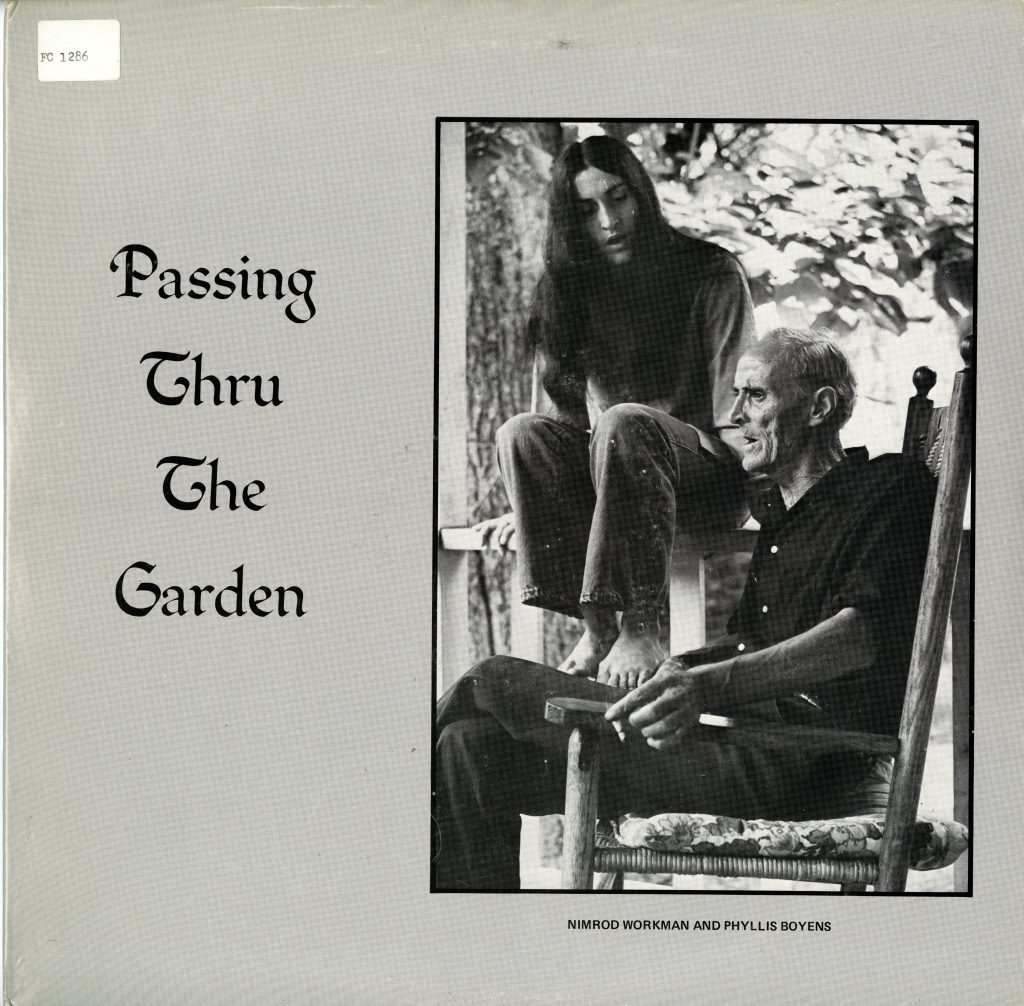 LP cover, gray background with image of Nimrod Workman and Phyllis Boyens on a porch